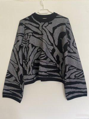 H&M Kimono Sweater black-silver-colored