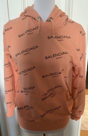 Capuchon sweater zalm-zwart