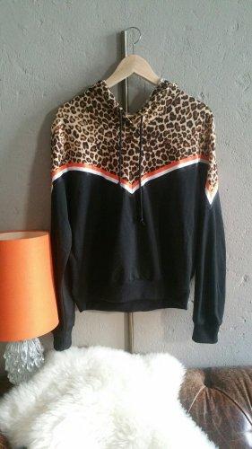 Pullover Hoodie Kapuzenpulli Leo Leopardenprint SHEIN S 36 (XS 34) colorblock colour block