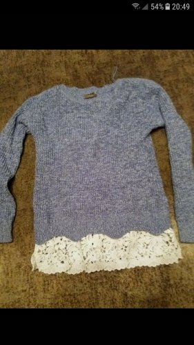 C&A Yessica Coarse Knitted Sweater white-neon blue