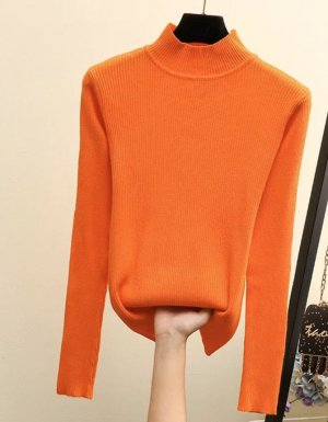 100% Fashion Knitted Sweater orange