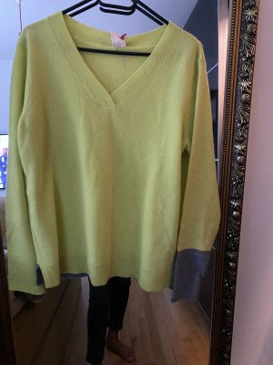 White Stuff Cashmere Jumper grey-lime-green cashmere