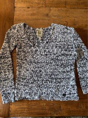 Khujo Vintage Sweter z grubej dzianiny czarny-biały Poliakryl