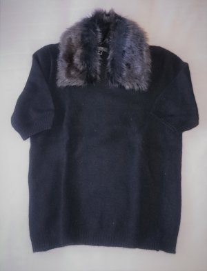 Pullover kurzarm Strick Shirt schwarz mit Fellkragen abnehmbar von MEXX Metropolitan Gr. S