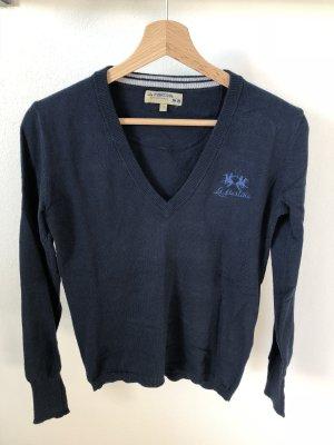 La Martina V-Neck Sweater dark blue-blue
