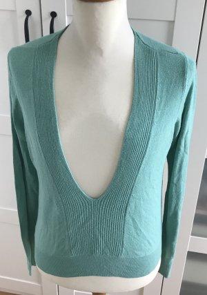 Pullover, Langarmshirt mit V-Ausschnitt, mint, türkis, H&M,Gr. 36