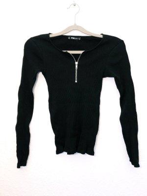 Pullover Langarmshirt Sweater Hoodie schwarz Rippenstrick Pulli Reißverschluss Größe S Damen