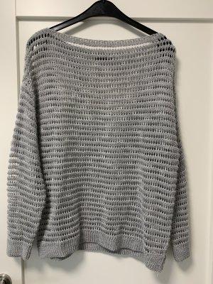 Aust Szydełkowany sweter srebrny-jasnoszary