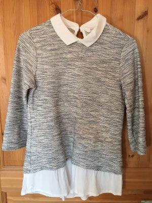 C&A Clockhouse Inserción de blusa blanco puro-gris Algodón