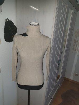 Sweter z golfem kremowy-jasnobeżowy