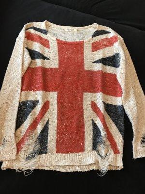 Pullover mit Flagge und Pailletten Destroyedlook