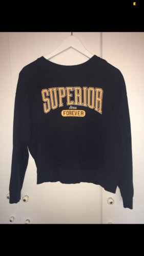H&M Long Sweater dark blue-yellow