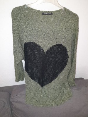 Wool Sweater black-khaki