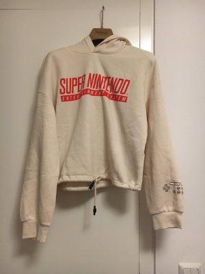 H&M Sweter z kapturem w kolorze białej wełny