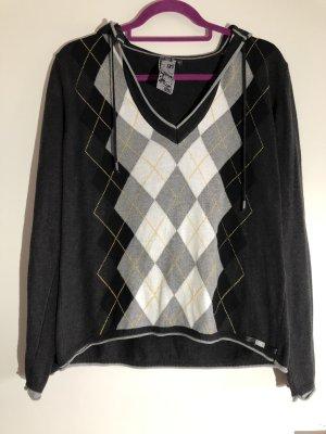 Pullover mit Kapuze, dunkelgrau hellgrau gelb weiß schwarz, Gr. L, cecil