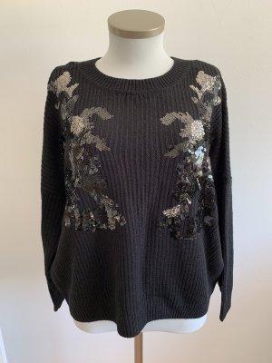 Pullover mit Pailletten schwarz
