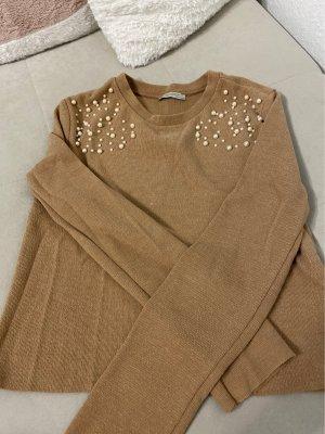 Zara Trafaluc Jersey largo marrón claro-beige