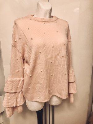 Pullover mit Perlen Rosa Damen XXL Achsel zu Achsel 68cm