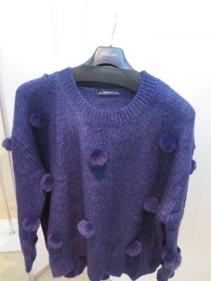 Pullover mit Ponpons blau Zara L Oversize