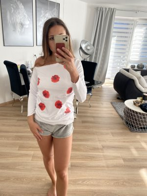 Long Sweater white-red