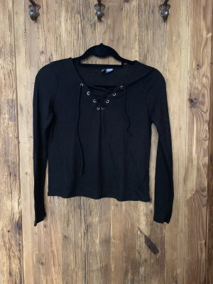 H&M Divided V-Neck Shirt black-silver-colored