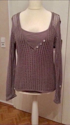 B&C collection Crochet Sweater taupe