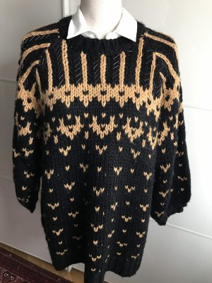 Zara Norwegian Sweater black-gold orange