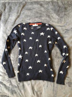 Pullover mit Sternen Marineblau Weiß Sehr Warm für jede Jahreszeit