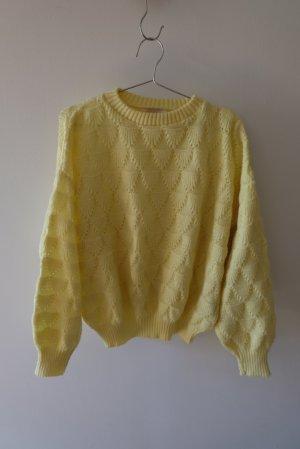 Vintage Sweter z grubej dzianiny jasnożółty Poliakryl