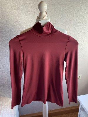 Zara Top à col roulé bordeau-rouge carmin