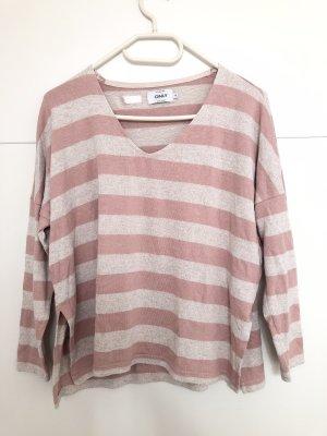 Only V-hals shirt roze-licht beige