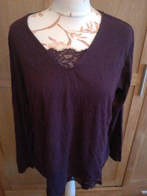 Pullover mit V Ausschnitt Lila mit Spitze