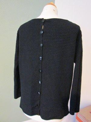 Pullover mit Vintage Glasknöpfen schwarz Gr. S/M