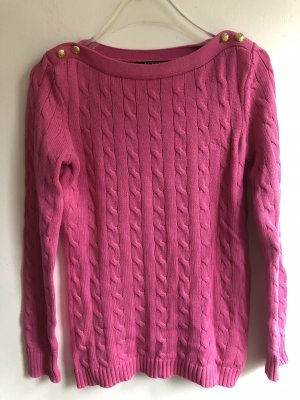 Lauren by Ralph Lauren Cable Sweater pink-gold-colored cotton