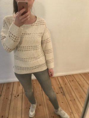 Pullover Muster Strick beige weiß M