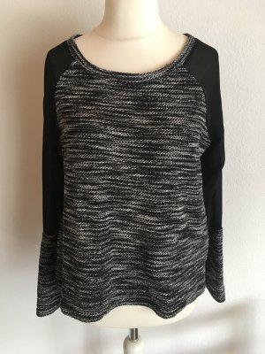 Pullover Oberteil leicht schwarz weiß meliert Gr. M