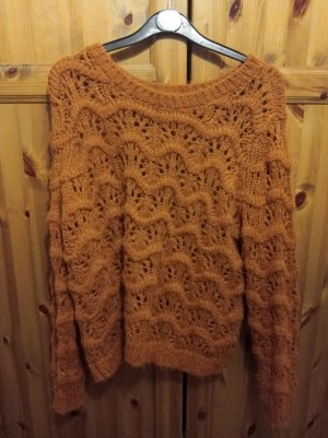 Only Crochet Sweater cognac-coloured