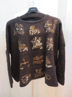 Pullover Oversize Stickerei in teilweise gold Grundfarbe Anthrazit Zara