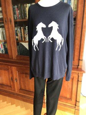 Pullover Pferde blau mit Alpaca H&M Gr. M