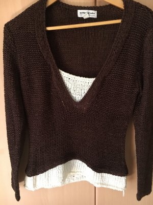 Ashley Brooke Coarse Knitted Sweater dark brown-white