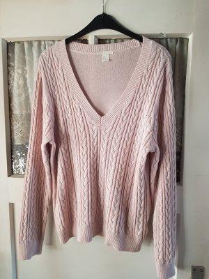 H&M Basic Warkoczowy sweter różany