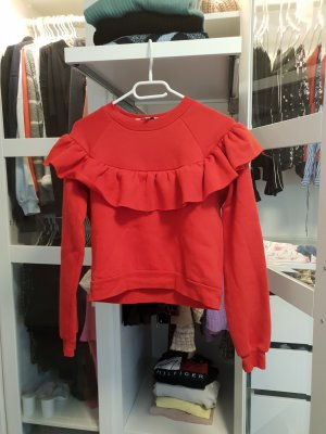 pullover Pulli Hoodie rot mit Volants cropped gr M Koton
