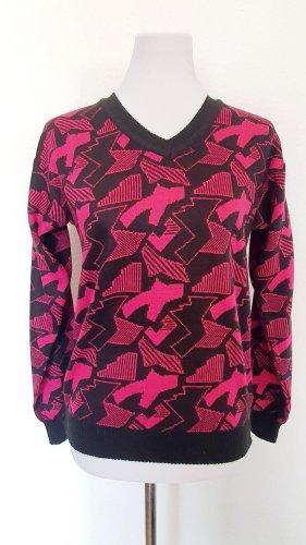 Pullover Pulli Langarmshirt gemustert Geometric Hipster Bloggerstyle pink schwarz 38