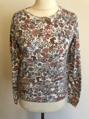 Pullover Pulli leicht weiß mit Muster Gr. S