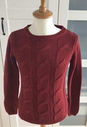 Pullover, Pulli mit Zopfmuster, rot, dunkelrot, Esmara, Gr. S