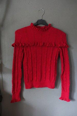 Pullover, Pulli, &other stories, rot, Rüschen, sehr schön! Baumwolle, Wolle