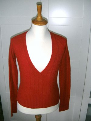 Pullover, Pulli, Strickpullover mit Zopfmuster, rot, Only, Gr. 34