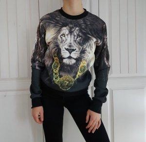 Pullover Pulli Sweater Hoodie Löwe Oversize Schwarz weiß gelb Jacke L cardigan True vintage