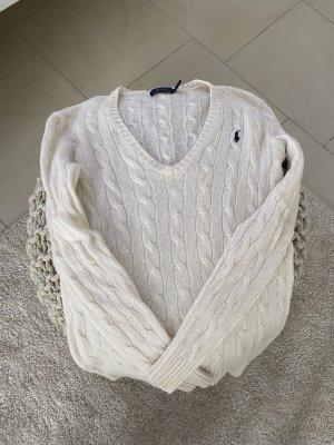Polo Ralph Lauren Warkoczowy sweter w kolorze białej wełny