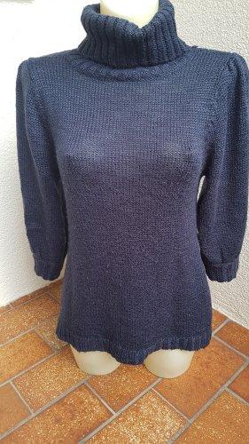 Pullover Rollkragen Mango MNG Gr. M dunkelblau mit Wolle